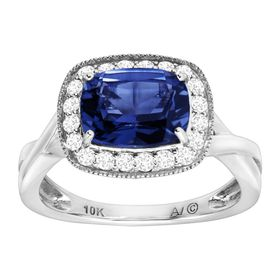 3 1/4 ct Blue & White Sapphire Cushion Ring