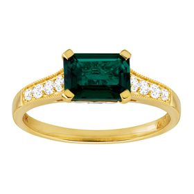 1 5/8 ct Emerald & White Sapphire Two-Tone Ring