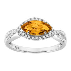 7/8 ct Citrine & 1/8 ct Diamond Marquise Ring