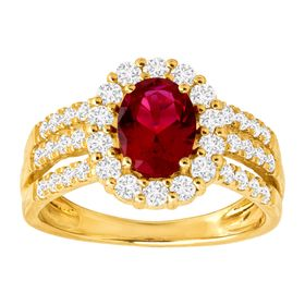 Ruby & White Sapphire Two-Tone Ring
