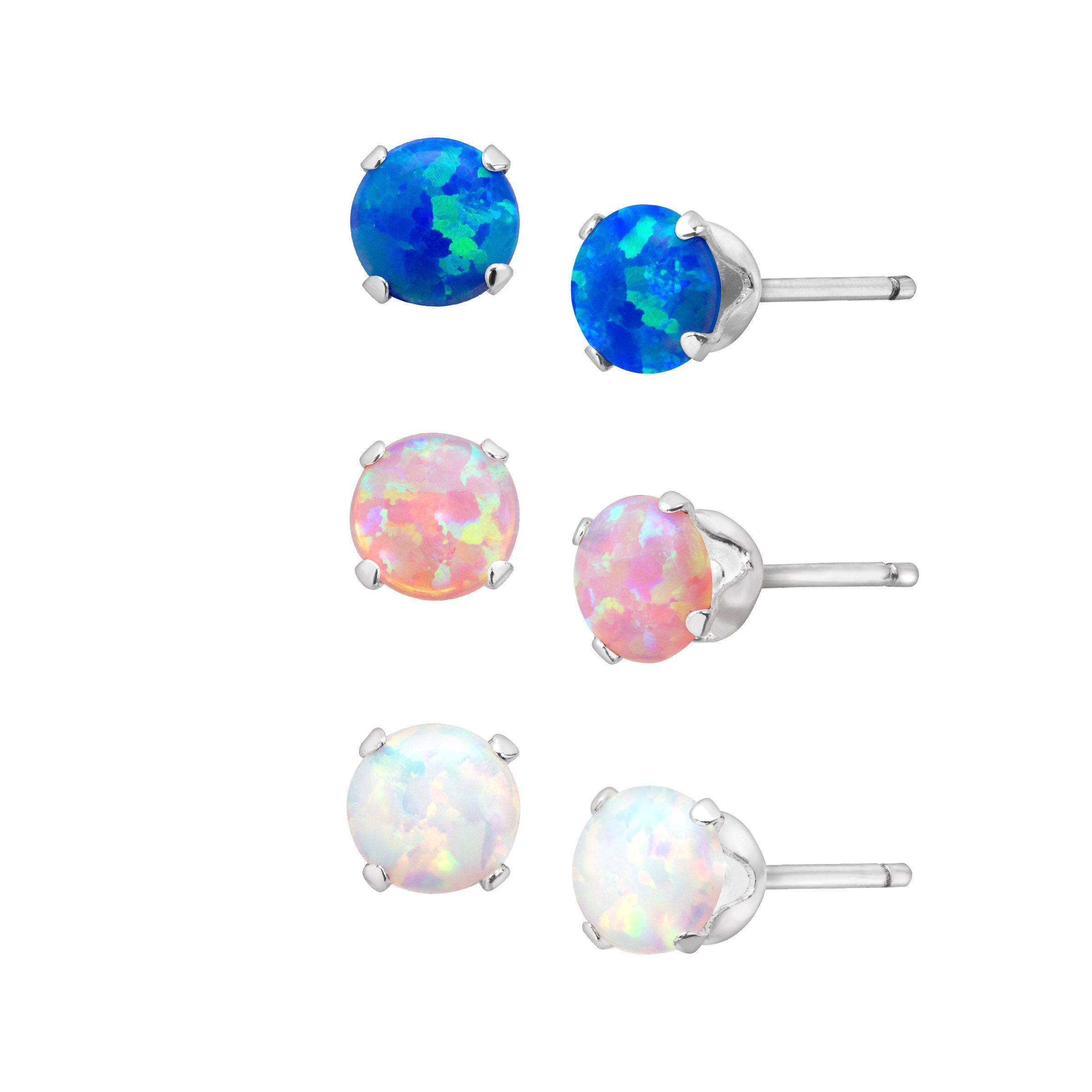 3 4 Ct Tri Color Created Opal Stud Earrings Set Rhodium Plated Sterling Silver
