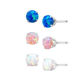 3/4 ct Tri-Color Opal Stud Earrings Set