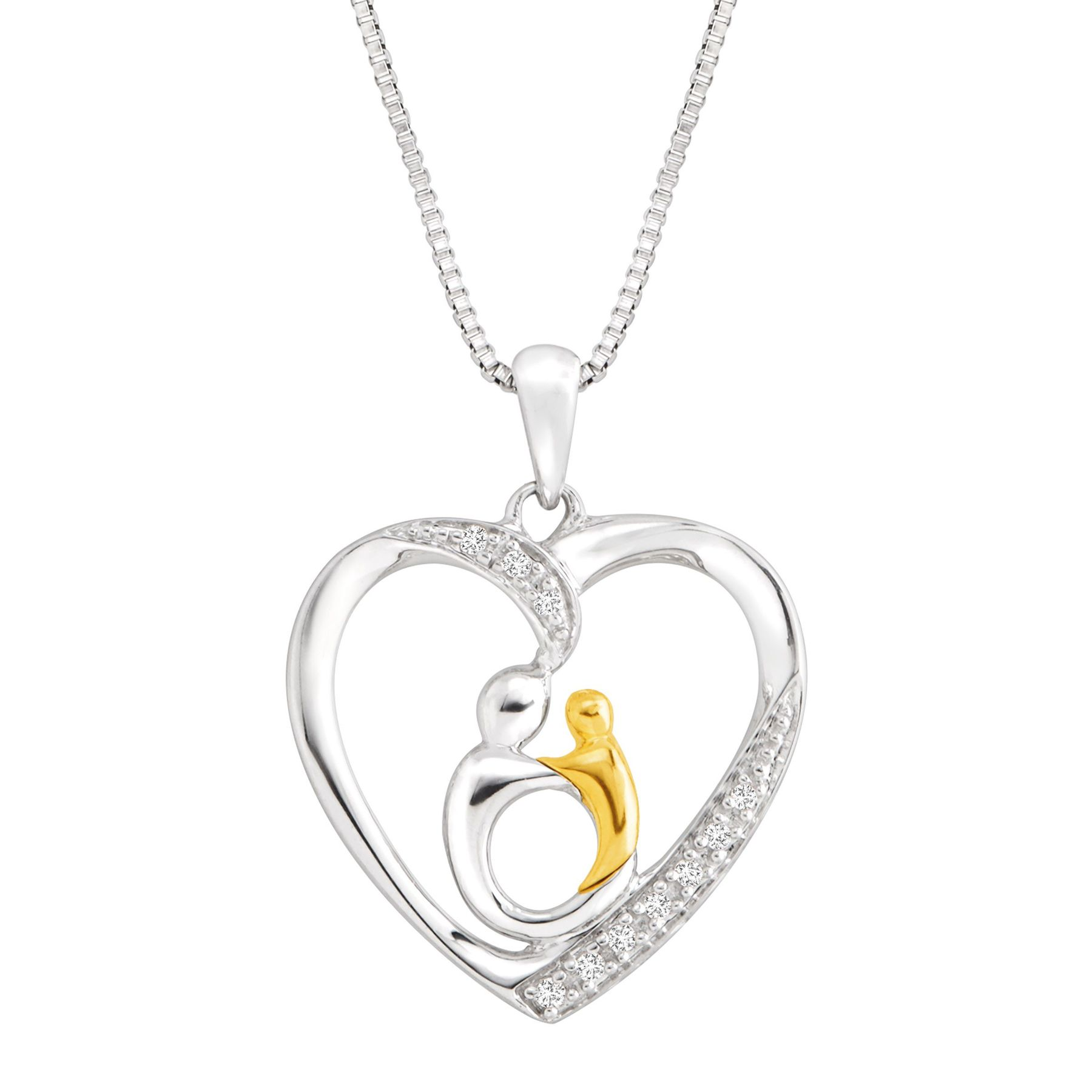 Finecraft Mother and Child Pendant with Diamonds (Silver and Gold)