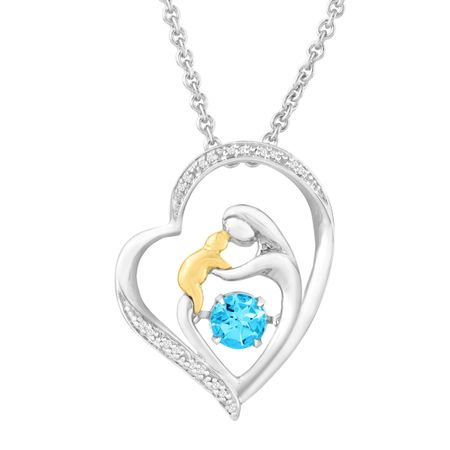 23 ct natural swiss blue topaz dancing mother child pendant with 23 ct blue topaz dancing mother child pendant aloadofball Choice Image