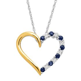 1/3 ct Sapphire Open Heart Pendant with Diamonds