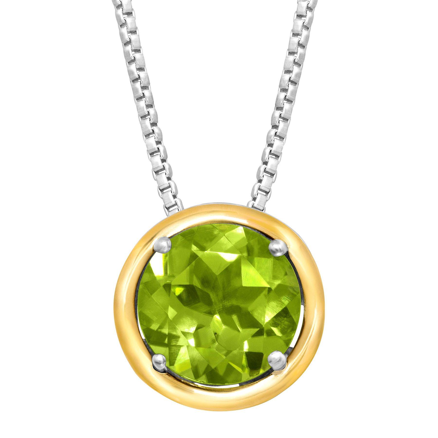2 ct natural peridot pendant in sterling silver 14k gold 2 ct 2 ct peridot pendant aloadofball Gallery