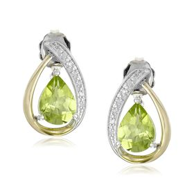 Two-Tone Peridot Stud Earrings with Diamonds