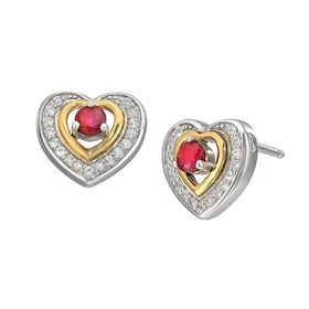 1/2 ct Ruby & White Sapphire Framed Heart Stud Earrings