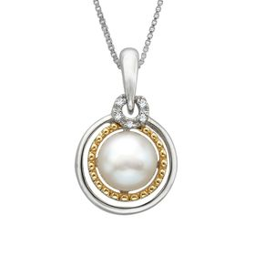 7 mm Pearl Pendant with Diamonds