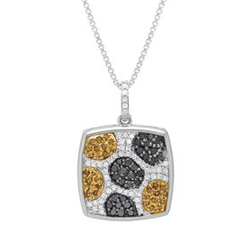 1/2 ct Black, White & Champage Diamond Pendant