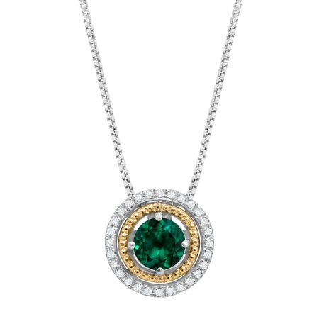 34 ct created emerald pendant with diamonds in sterling silver 34 ct emerald pendant with diamonds in sterling silver aloadofball Images