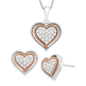 1/5 ct Diamond Heart Earring & Pendant Set
