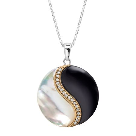 Onyx and mother of pearl yin yang pendant with 110 ct diamonds in onyx mother of pearl yin yang pendant mozeypictures Gallery