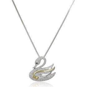 1/10 ct Diamond Swan Pendant