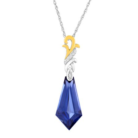 8 1/4 ct Ceylon Sapphire Pendant with Diamonds