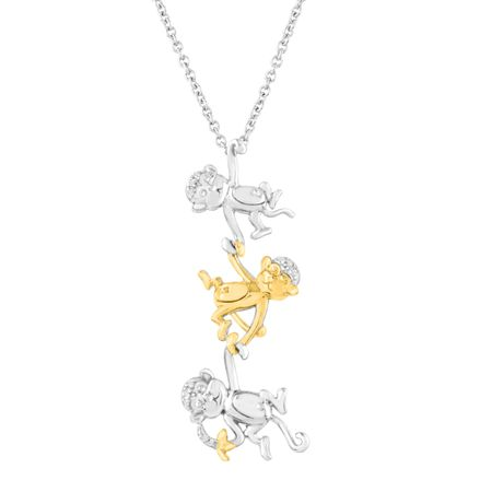 Monkey Trio Pendant with Diamonds
