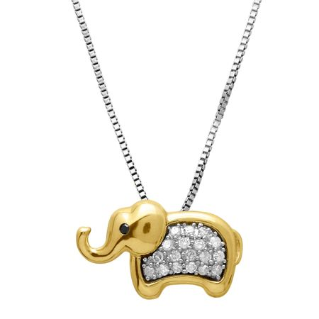 1/6 ct Diamond Elephant Pendant