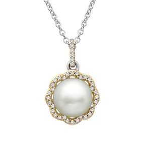 Pearl & 1/5 ct Diamond Drop Pendant