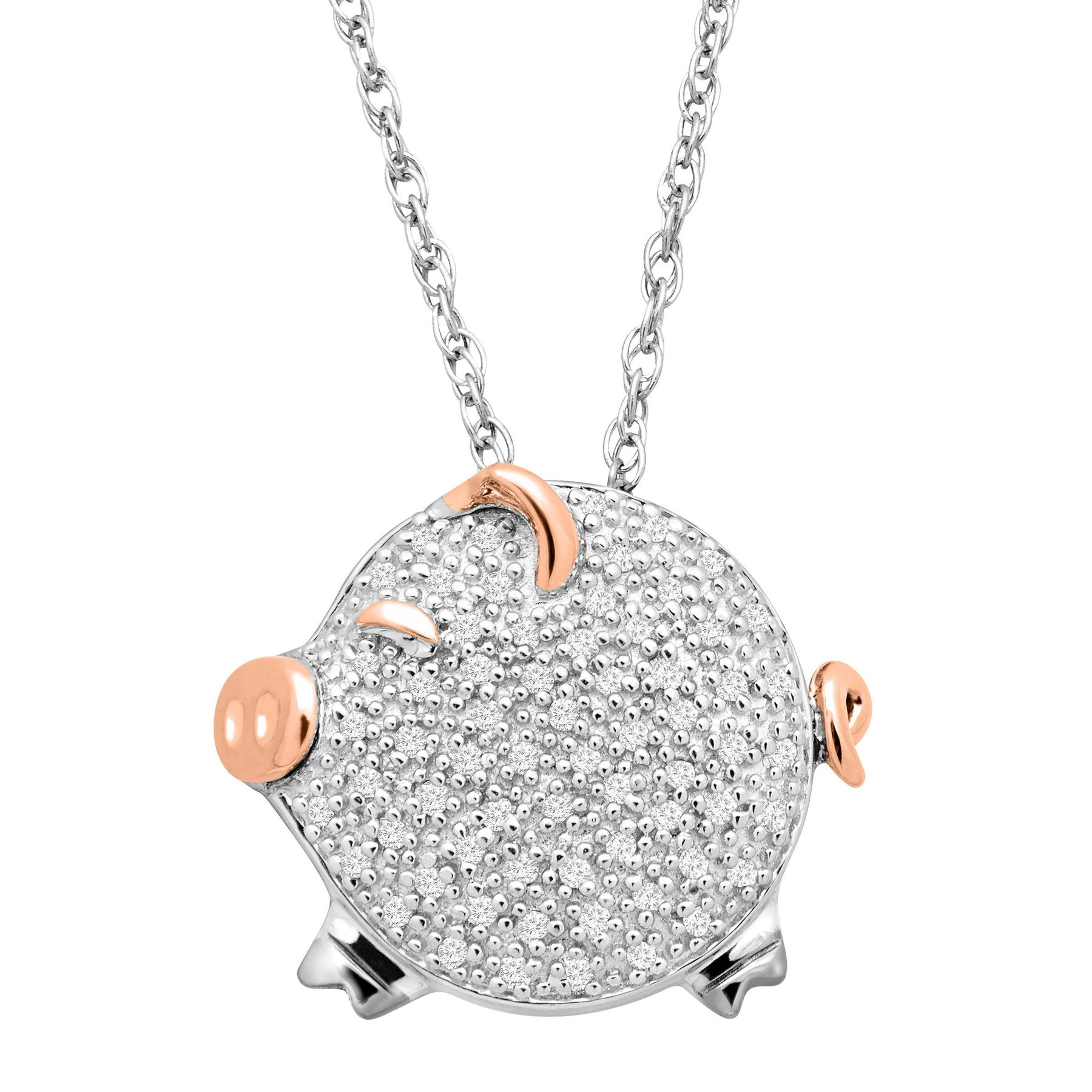 15 ct diamond pig pendant in sterling silver 14k rose gold 15 15 ct diamond pig pendant mozeypictures Gallery