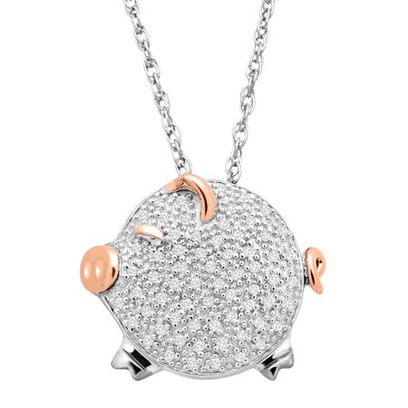 15 ct diamond pig pendant in sterling silver 14k rose gold 1 15 ct diamond pig pendant mozeypictures Gallery