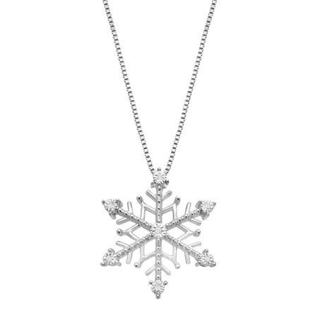 Snowflake pendant with diamonds in sterling silver with 14k rose snowflake pendant with diamonds aloadofball Images