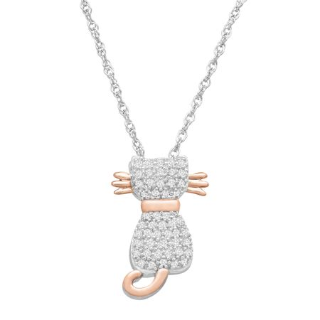 15 ct diamond cat pendant necklace in sterling silver 14k rose 15 ct diamond cat pendant mozeypictures Choice Image