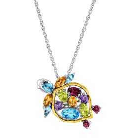 2 1/2 ct Multi-Stone Turtle Pendant