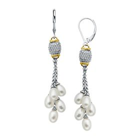 Pearl & 1/8 ct Diamond Drop Earrings