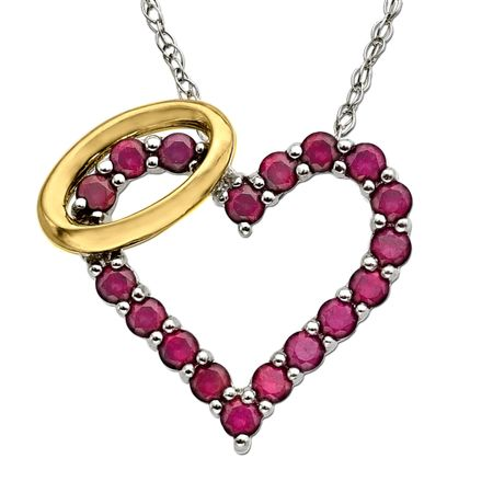 78 ct created ruby angel heart pendant in sterling silver and 14k ruby angel heart pendant mozeypictures Choice Image