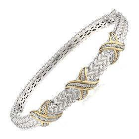 1/5 ct Diamond Criss-Cross Bangle Bracelet