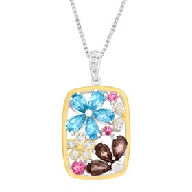 2 1/6 ct Multi-Gemstone Flower Pendant with Diamonds