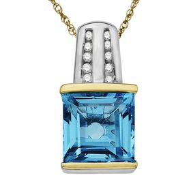 3 1/2 ct Blue Topaz Pendant with Diamonds