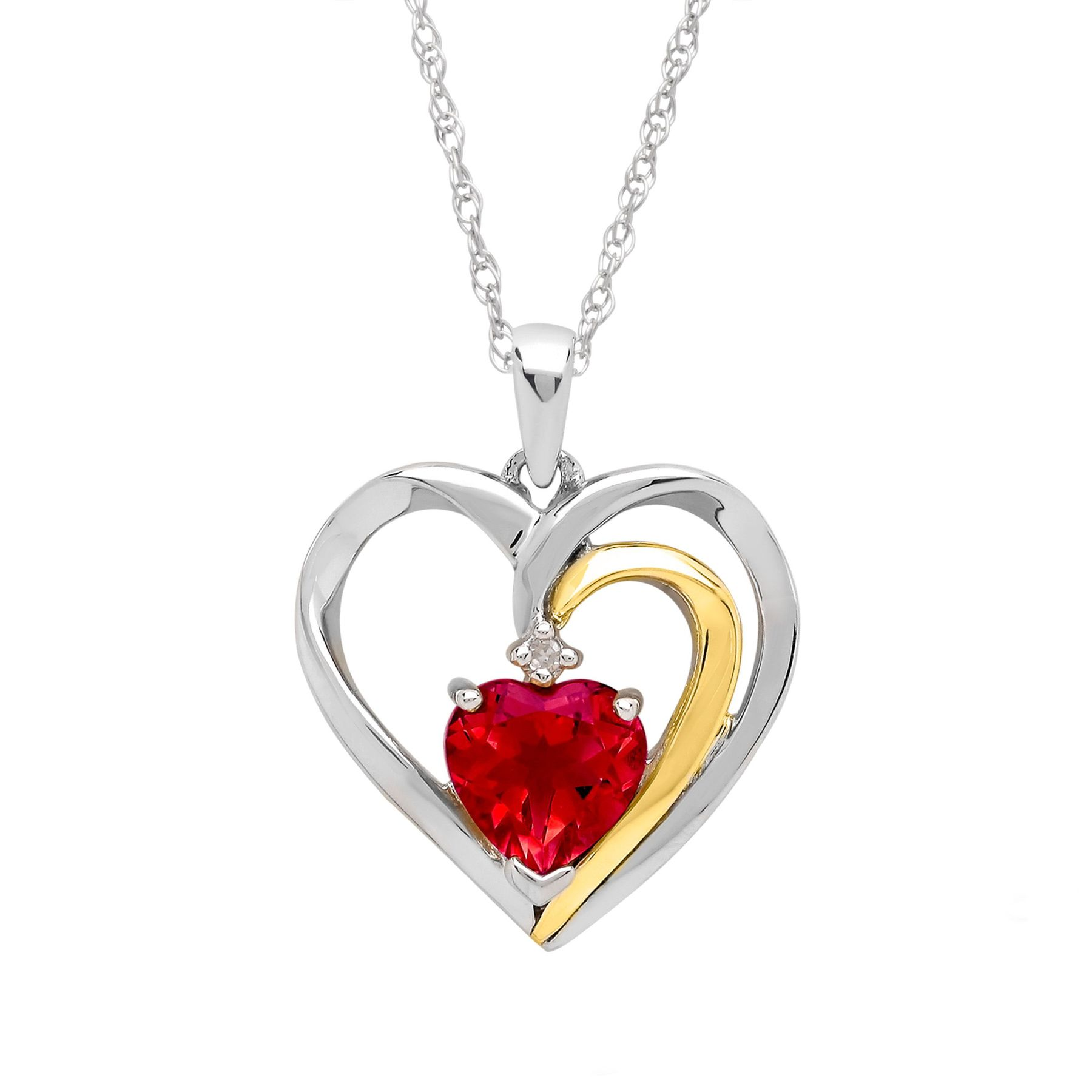 Ruby heart pendant with diamond in sterling silver and 14k gold ruby heart pendant with diamond aloadofball Image collections