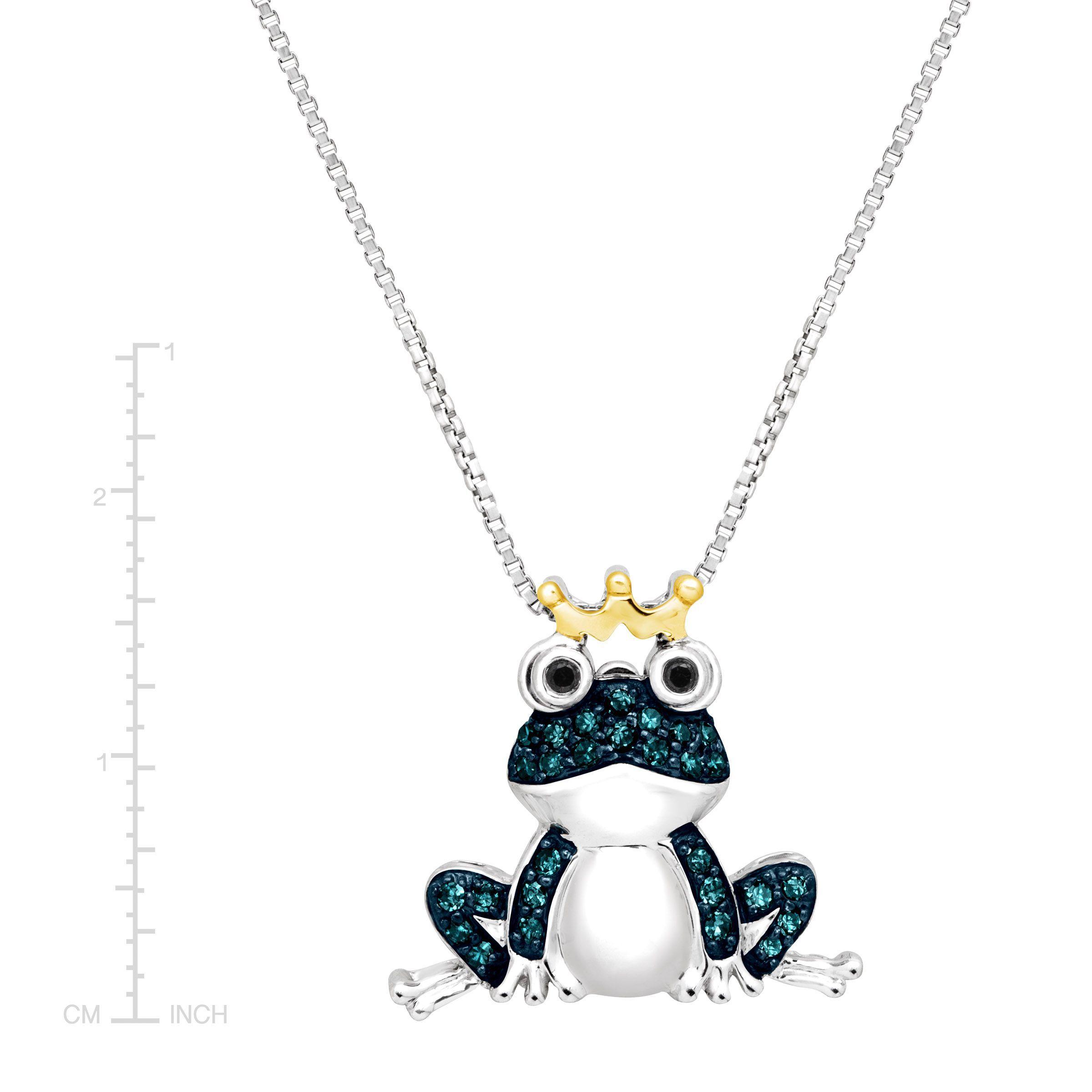 1 5 ct Blue & Black Diamond Frog Pendant in Sterling Silver & 14K