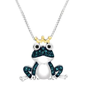 1/5 ct Blue & Black Diamond Frog Pendant