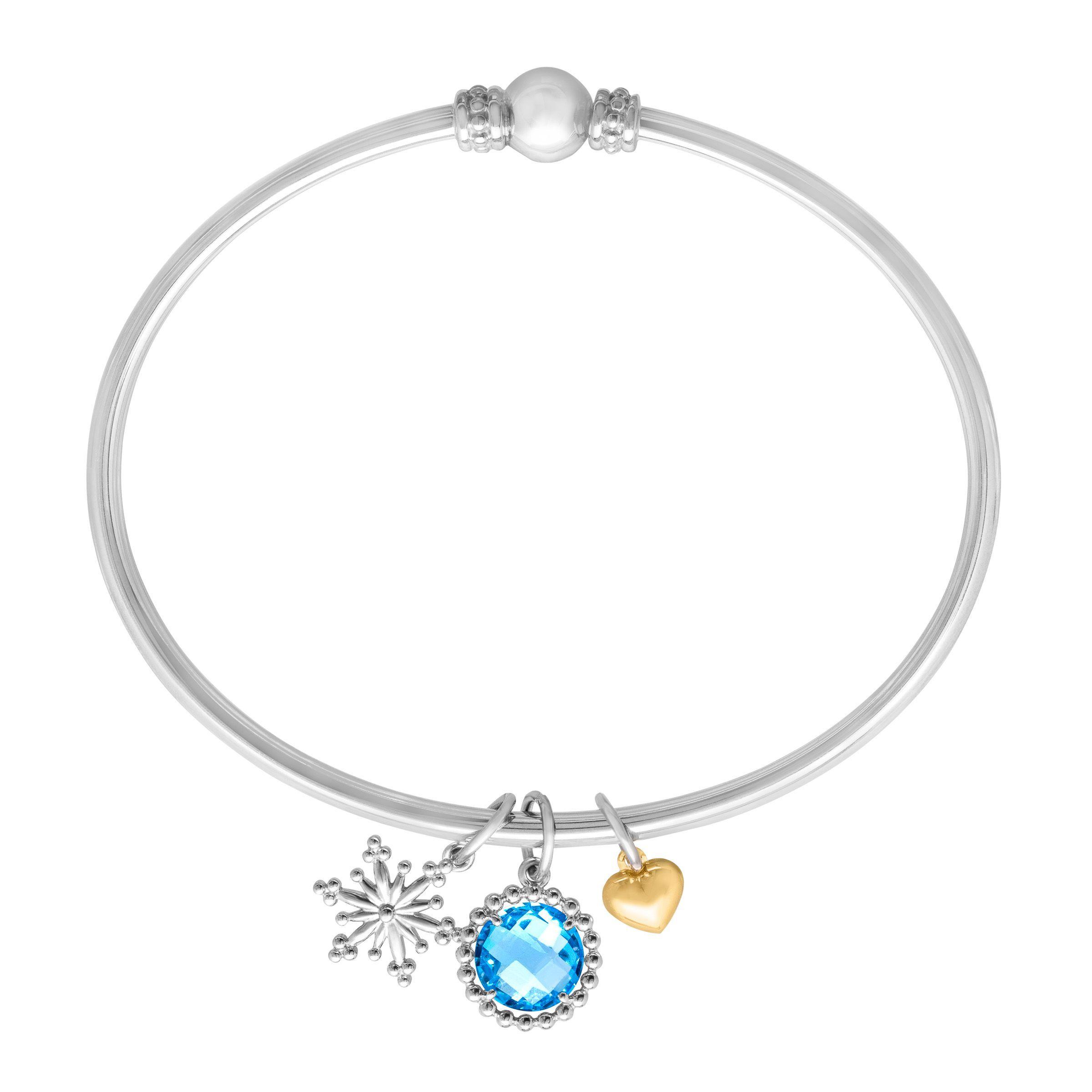 Snowflake Charm Bracelet: 2 1/4 Ct Swiss Blue Topaz Snowflake Charm Bangle Bracelet