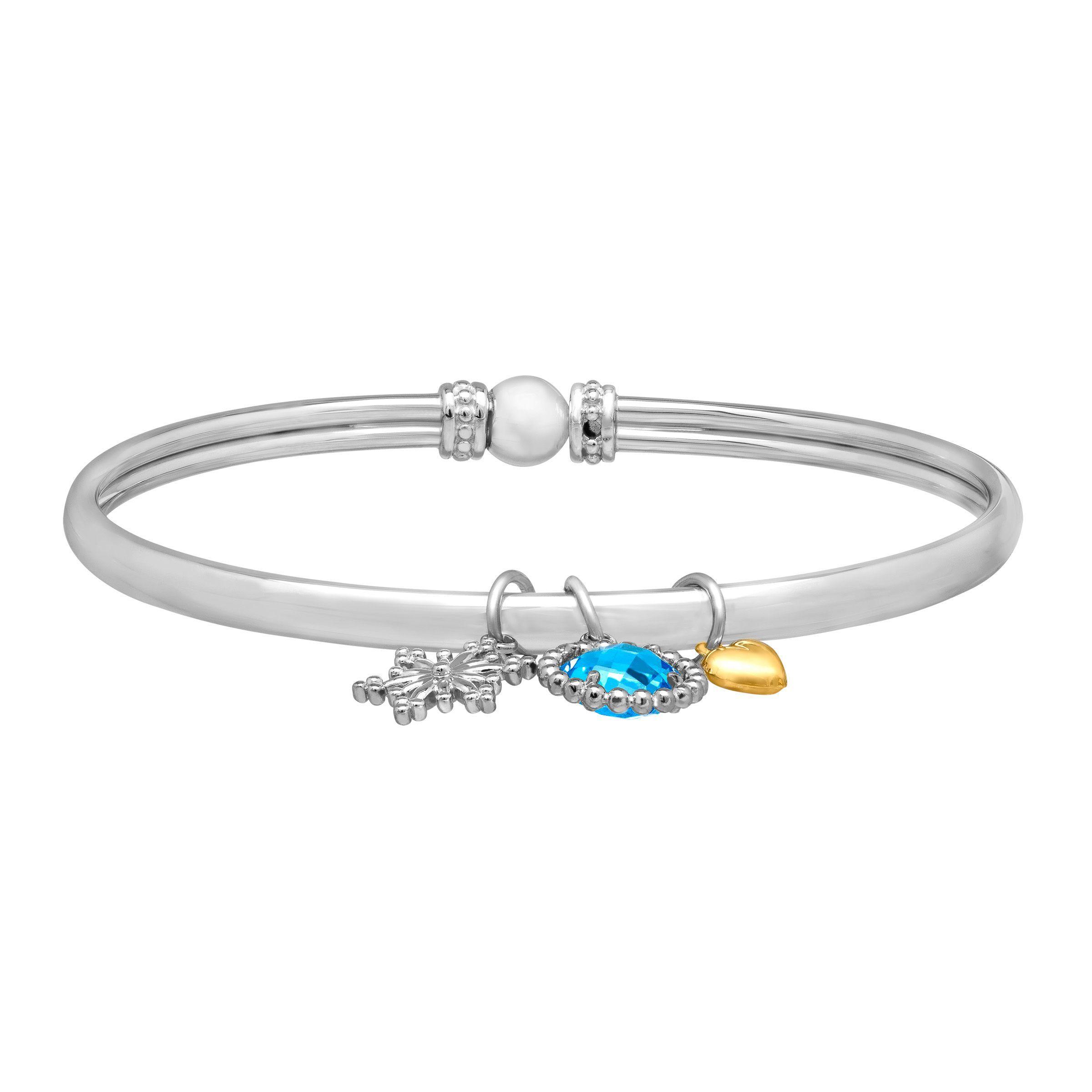Blue Charm Bracelet: 2 1/4 Ct Swiss Blue Topaz Snowflake Charm Bangle Bracelet