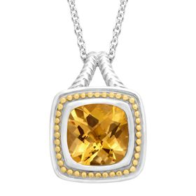 4 Ct Citrine Cushion Pendant