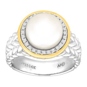 Button Pearl & 1/8 ct Diamond Ring