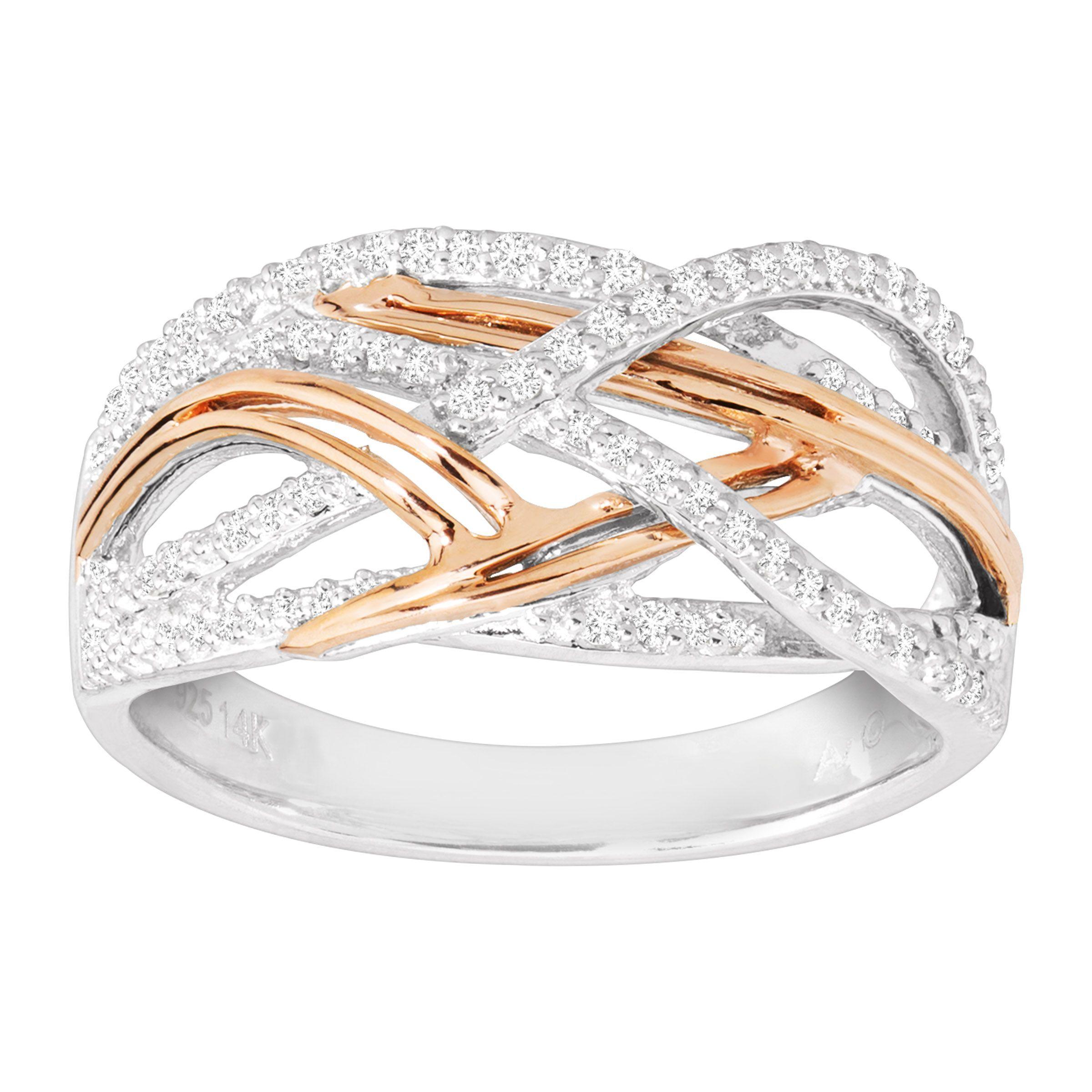 Interlocking Wedding Rings.Details About 1 5 Ct Diamond Interlocking Ring In Sterling Silver 14k Rose Gold