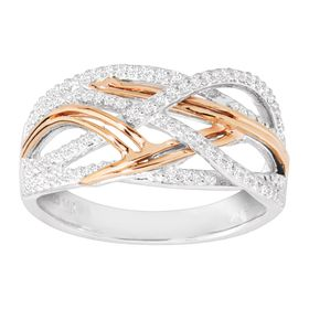 1/5 ct Diamond Two-Tone Woven Band Ring