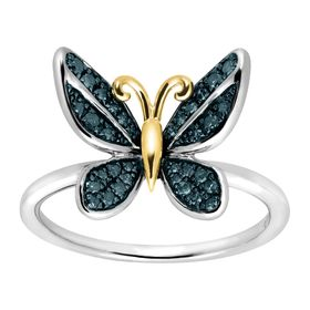 1/5 ct Blue Diamond Butterfly Ring