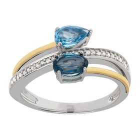 1 ct Swiss & London Blue Topaz Bypass Ring with Diamonds
