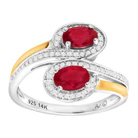1 1/8 ct Ruby & 1/5 ct Diamond Bypass Ring