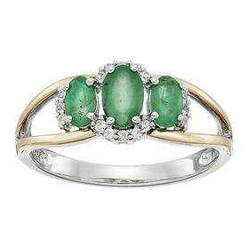 1 ct Emerald & White Sapphire Three-Stone Ring