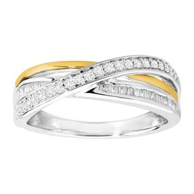 1/4 ct Diamond Two-Tone Intersecting Band Ring