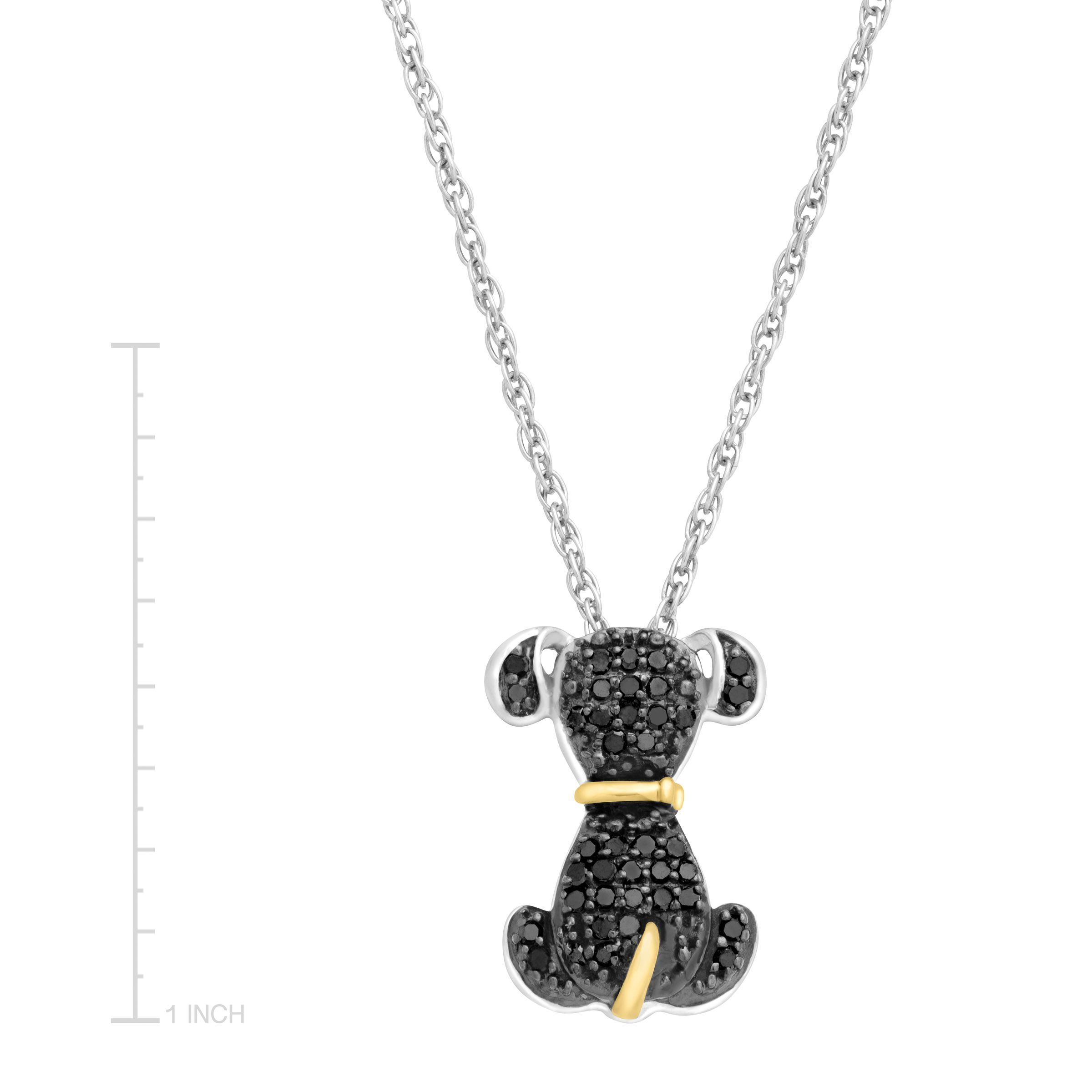 in necklace ct sterling black gold silver and itm diamond pendant dog