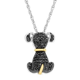 1/5 ct Black Diamond Dog Pendant