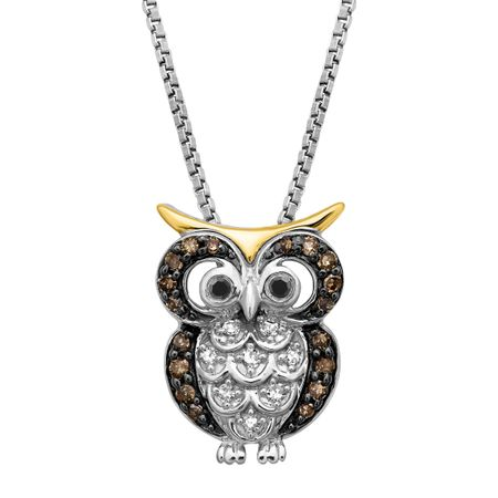 16 ct black white champagne diamond owl pendant in sterling 16 ct black white champagne diamond owl pendant aloadofball Image collections