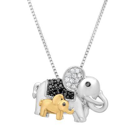 16 ct black white diamond elephant pendant with in sterling 16 ct diamond elephant pendant aloadofball Images